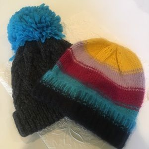 Topshop Pom Knit Beanies- set of 2